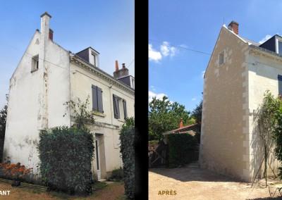 AVANT-APRES- Enduit à la chaux et taille de pierre à Larçay (37)